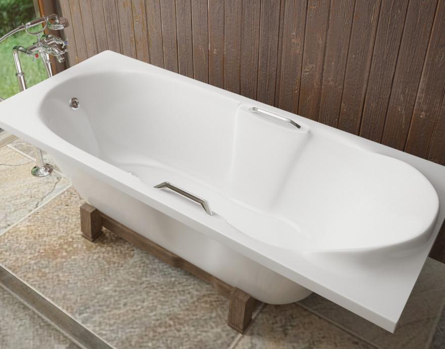 Ванна из литого мрамора 180х75 см Эстет Камелия FP00001032 ванна из литого мрамора эстет грация 170x94 см левая асимметричная на ножках фр 00000629