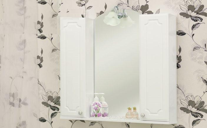 Зеркальный шкаф 80х72,8 см белый глянец Sanflor Ксения H0000000119