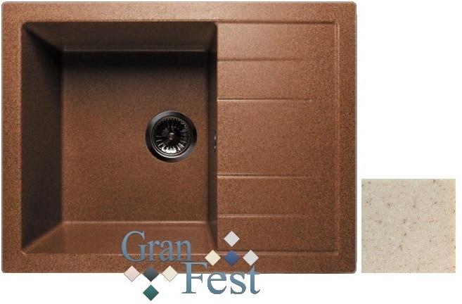 Кухонная мойка бежевый GranFest Quadro GF-Q650L granfest эко м 3323 бежевый