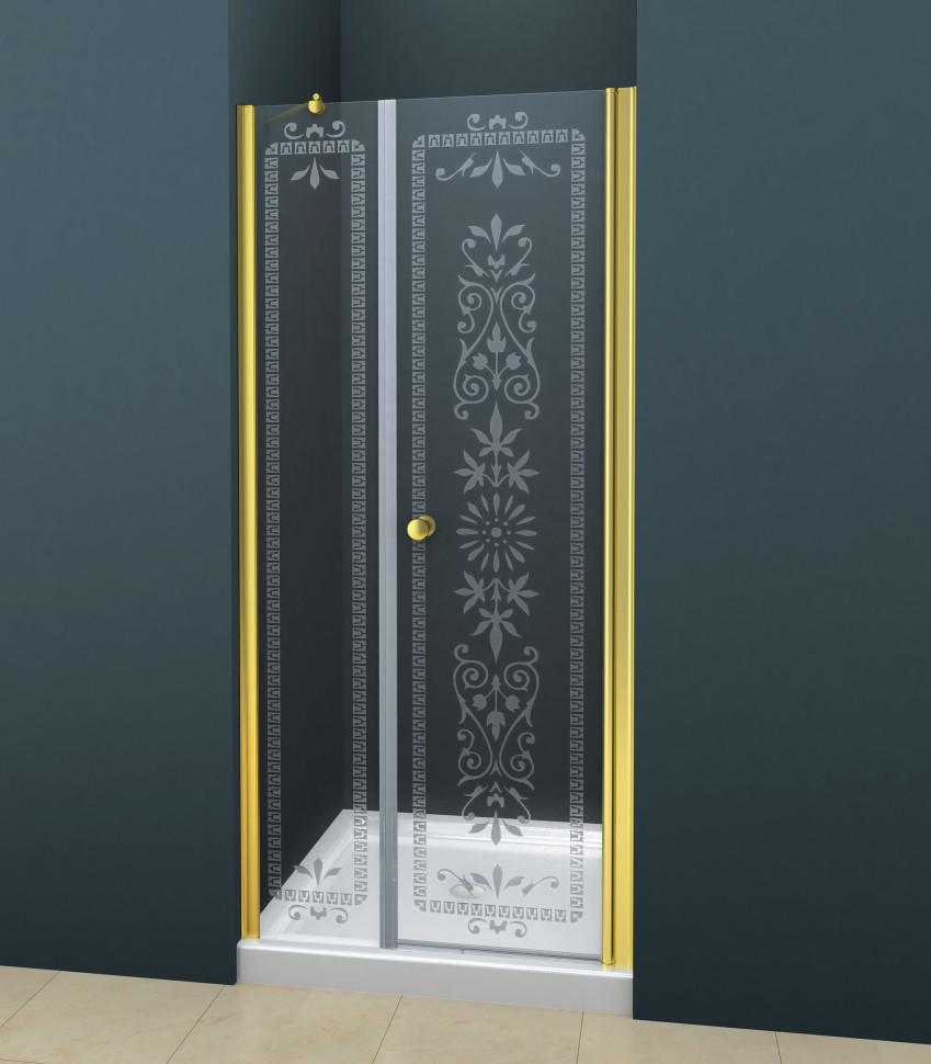 цена на Душевая дверь распашная Cezares Royal Palace 190 см прозрачное с матовым узором ROYAL PALACE-A-B-11-100+90-CP-G