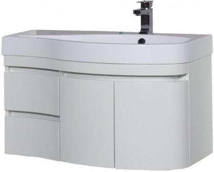 Тумба белый глянец 95 см R Aquanet Сопрано 00169633 раковина мебельная aquanet сопрано 95 правая 169396