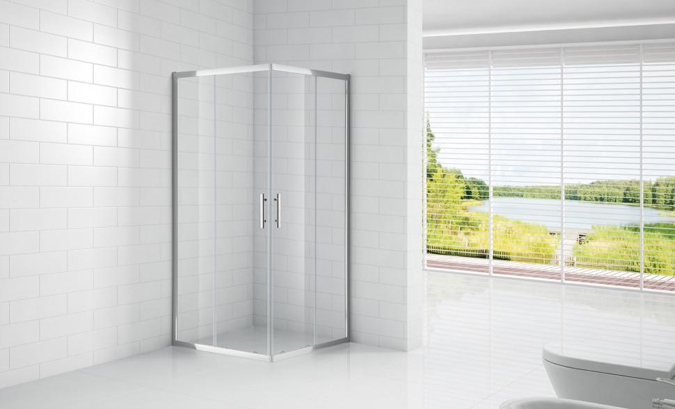Душевой уголок Cezares Eco 80x80 см прозрачное стекло ECO-O-A-2-80-C-Cr