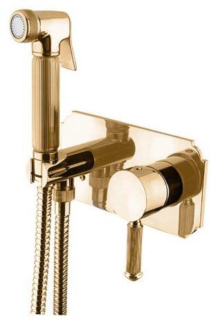 Смеситель с гигиеническим душем однорычажный золото 24 карата Cezares Olimp OLIMP-DIF-03/24-L смеситель с гигиеническим душем однорычажный бронза cezares olimp olimp dif 02 l