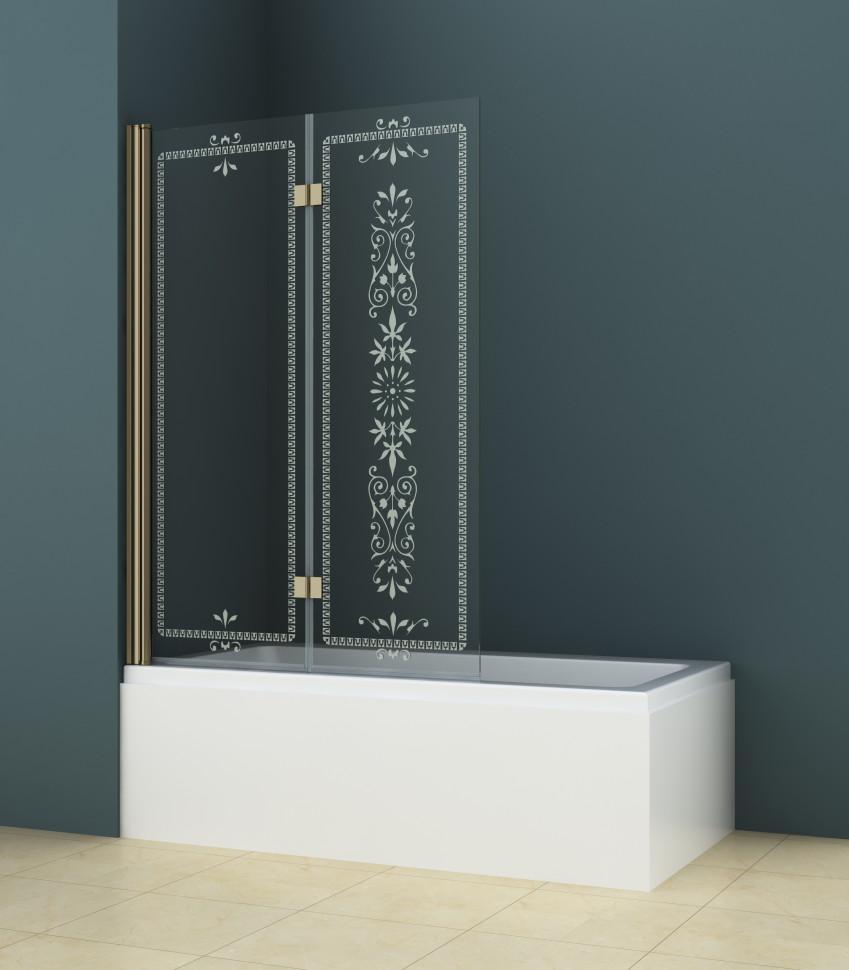 Шторка для ванны Cezares Royal Palace 120 см прозрачное c матовым узором стекло ROYAL PALACE-A-V-21-120/145-CP-Br