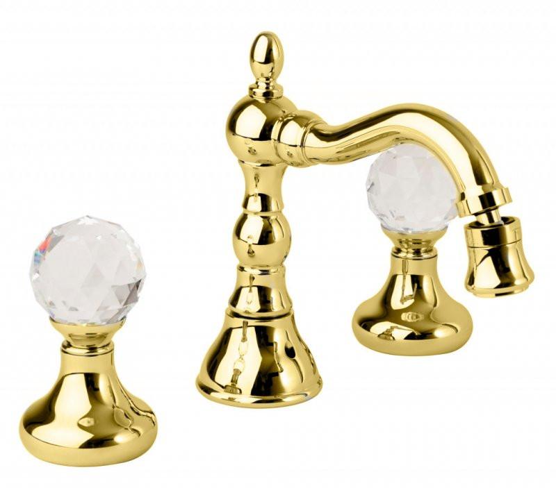 Смеситель для биде на три отверстия золото 24 карата, ручки Swarovski Cezares Atlantis ATLANTIS-BBS2-03/24-Sw смеситель для биде золото 24 карат ручки swarovski cezares diamond diamond bbs2 03 24 sw
