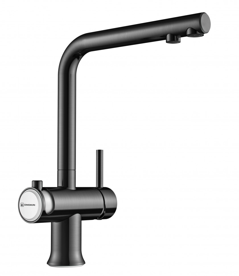 Смеситель для кухни с подключением к фильтру вороненая сталь/белый Omoikiri Hotaru-GM-WH