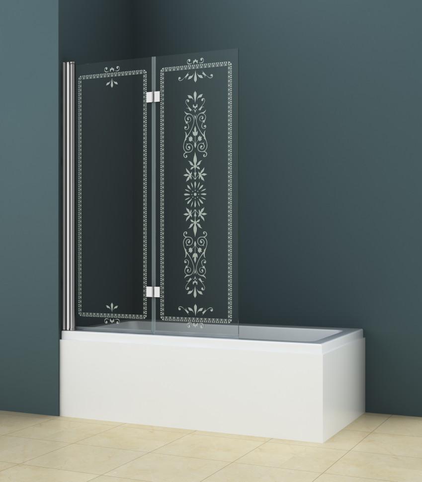 Шторка для ванны Cezares Royal Palace 120 см прозрачное c матовым узором стекло ROYAL PALACE-A-V-21-120/145-CP-Cr