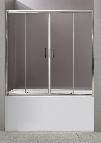 Шторка для ванны BelBagno Uno 150 см текстурное стекло UNO-VF-2-150/145-P-Cr.