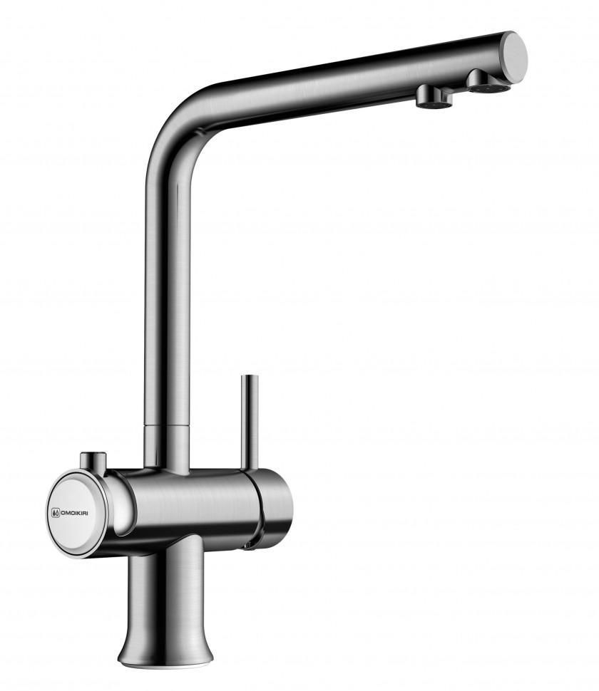 Смеситель для кухни с подключением к фильтру нержавеющая сталь/белый Omoikiri Hotaru-IN-WH фото
