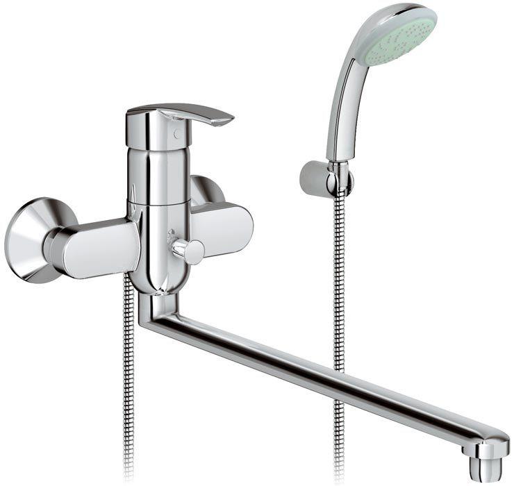 Смеситель для ванной с душем с длинным изливом германия купить в керамомараци плитка ванная комната