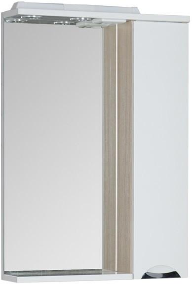 Зеркальный шкаф 60х87 см с подсветкой белый/светлый дуб Aquanet Гретта 00173985 комплект мебели для ванной aquanet гретта 75 209980 светлый дуб