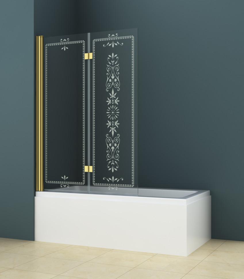 Шторка для ванны Cezares Royal Palace 120 см прозрачное c матовым узором стекло ROYAL PALACE-A-V-21-120/145-CP-G