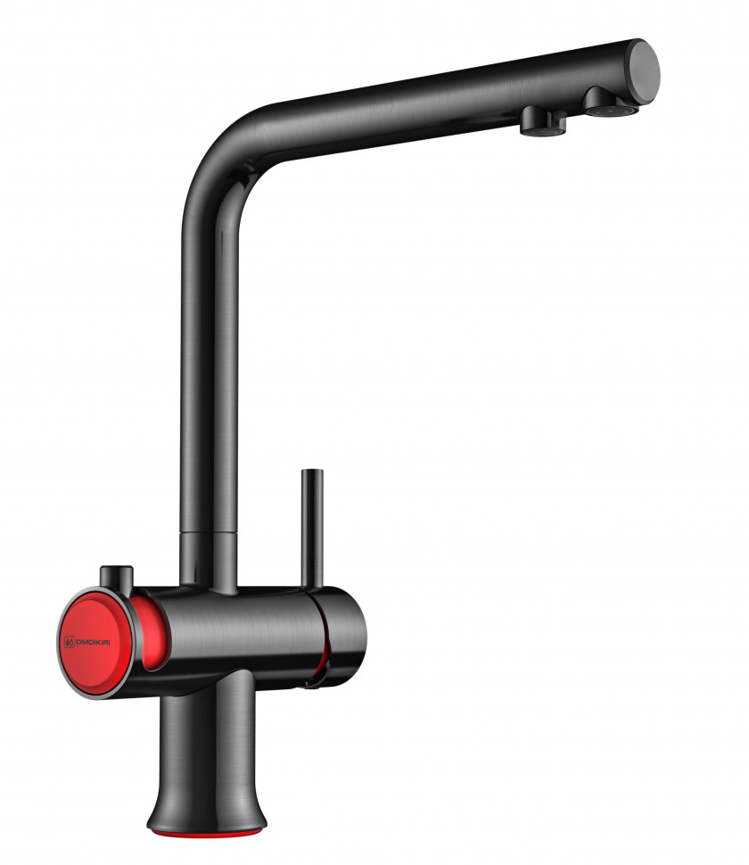 Смеситель для кухни с подключением к фильтру вороненая сталь/красный Omoikiri Hotaru-R