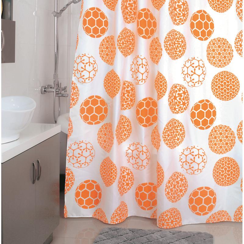 все цены на Штора для ванной комнаты Milardo Orange Dots 850P180M11 онлайн