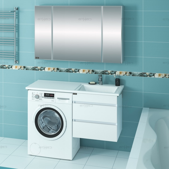 Раковина над стиральной машиной 100,2х48,2 см без кронштейнов R Санта Лидер 900107