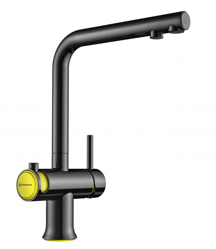 Смеситель для кухни с подключением к фильтру вороненая сталь/желтый Omoikiri Hotaru-Y