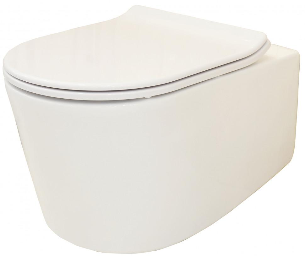 Подвесной безободковый унитаз с сиденьем микролифт Creo Ceramique Rennes RE1100R+RE1001T