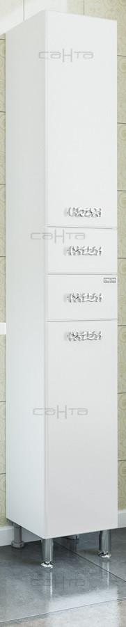 Пенал напольный белый глянец Санта Ливерпуль 710007 недорго, оригинальная цена