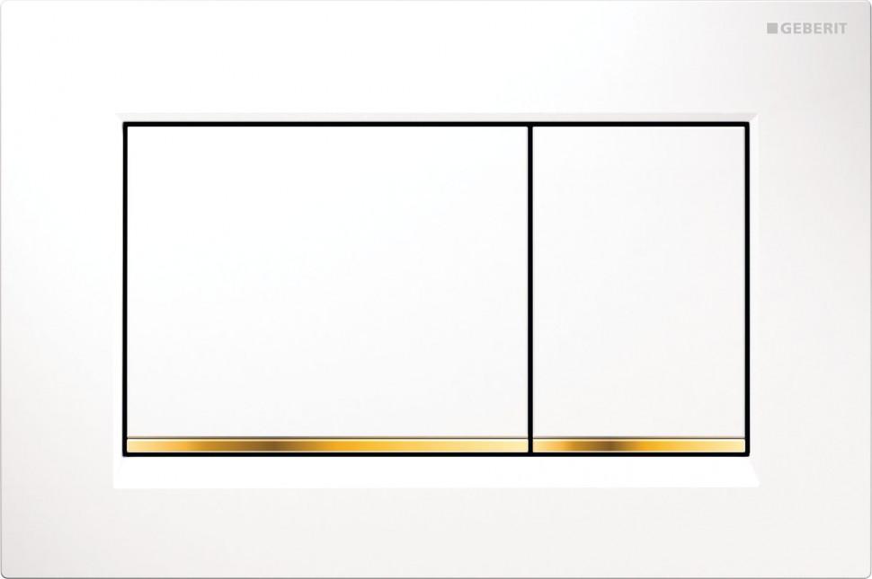 Смывная клавиша Geberit Sigma30 белый/позолота/белый для двойного смыва 115.883.KK.1 фото