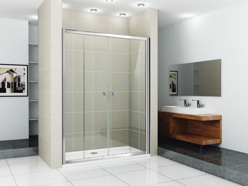 Душевая дверь раздвижная Cezares Pratico 160 см текстурное стекло PRATICO-BF-2-160-P-Cr
