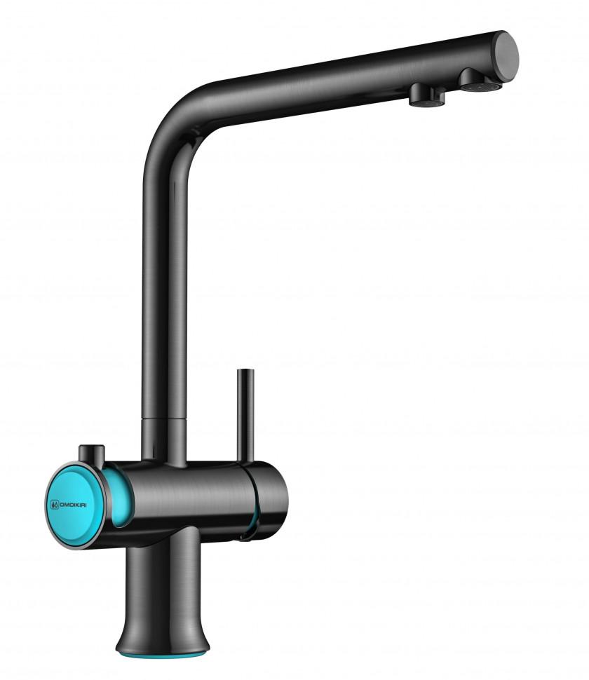 Смеситель для кухни с подключением к фильтру вороненая сталь/голубой Omoikiri Hotaru-B