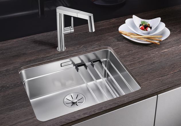 Кухонная мойка Blanco Etagon 500-U InFino зеркальная полированная сталь 521841 кухонная мойка blanco etagon 500 u нерж сталь зеркальная полировка без клапана автомата 521841