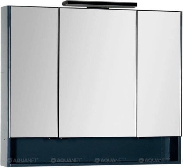 Зеркальный шкаф 97,5х86 см сине-серый Aquanet Виго 00183359