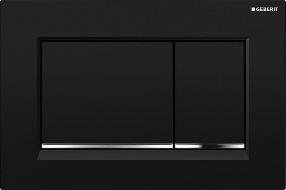 Смывная клавиша Geberit Sigma30 глянцевый черный/глянцевый хром/черный для двойного смыва 115.883.KM.1