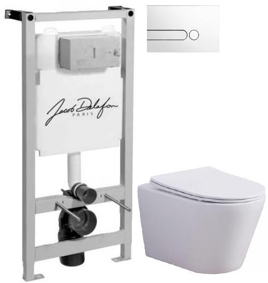 Комплект подвесной унитаз Esbano Clavel W + система инсталляции Jacob Delafon E5504-NF + E4326-CP фото