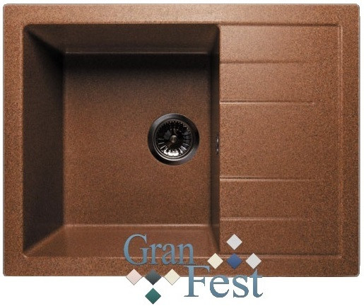 Кухонная мойка терракот GranFest Quadro GF-Q650L мойка кухонная granfest гранит 615x500 gf s615k терракот