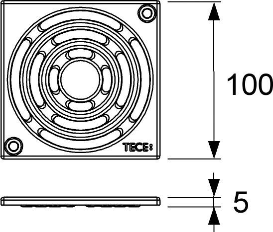 Декоративная решетка 100×100 мм TECE TECEdrainpoint S хром 3665000