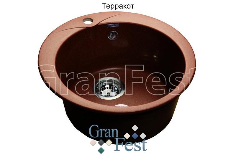 Кухонная мойка терракот GranFest Rondo GF-R480 мойка кухонная granfest гранит 850x495 gf s850l терракот