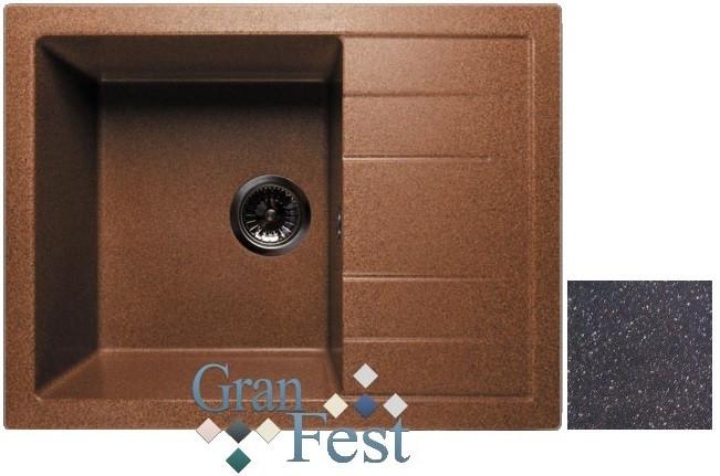 Кухонная мойка черный GranFest Quadro GF-Q650L кухонная мойка песочный granfest quadro gf q650l
