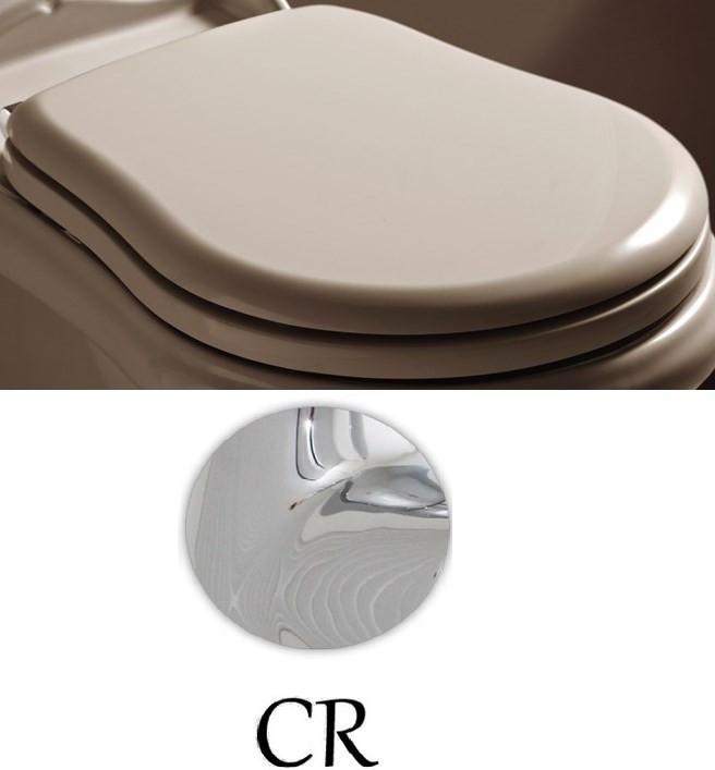 Сиденье для унитаза с микролифтом белый/хром Kerasan Retro 108801bi/cr.