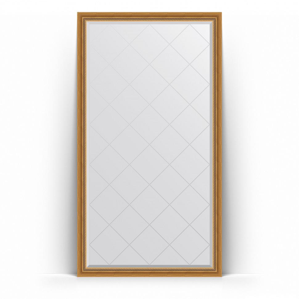 Зеркало напольное 108х198 см состаренное золото с плетением Evoform Exclusive-G Floor BY 6341