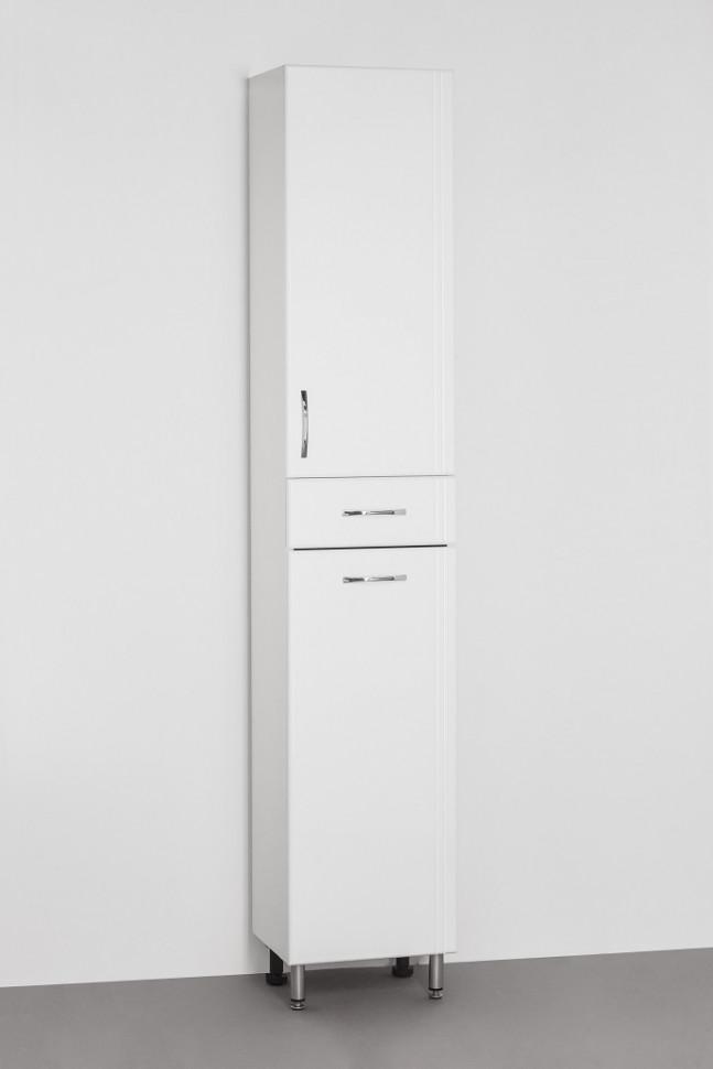 цена Пенал напольный белый глянец с бельевой корзиной Style Line Эко Стандарт LC-00000194 онлайн в 2017 году