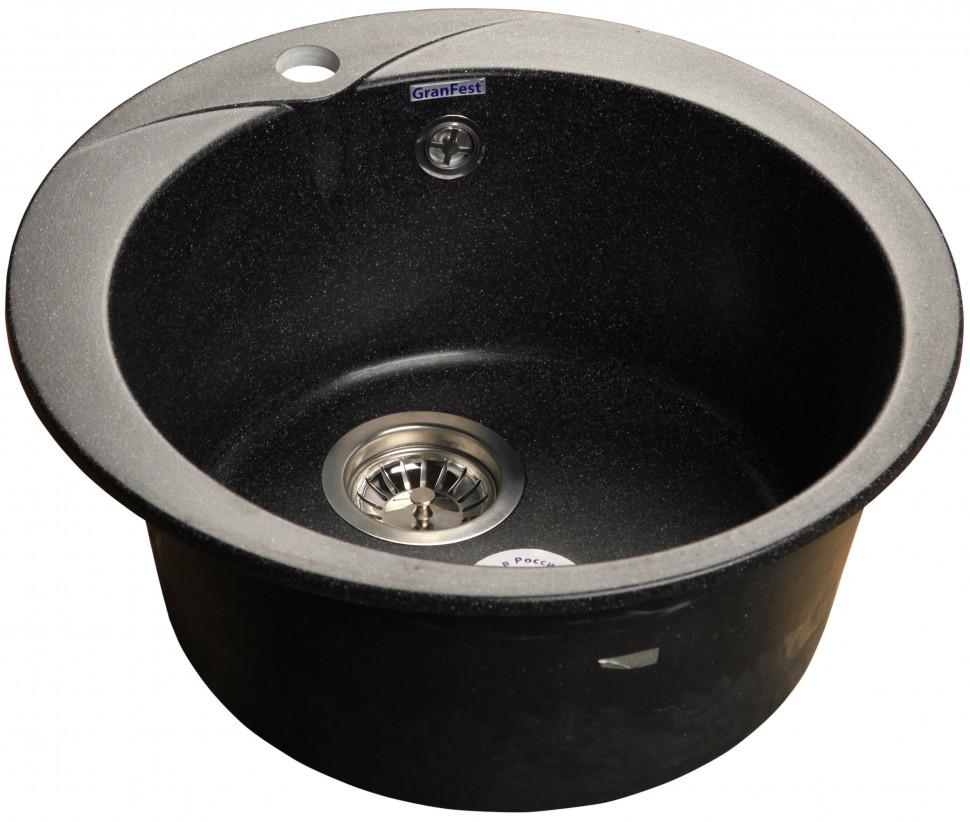 Кухонная мойка черный GranFest Rondo GF-R480 кухонная мойка granfest rondo gf r 450 d 450мм синий