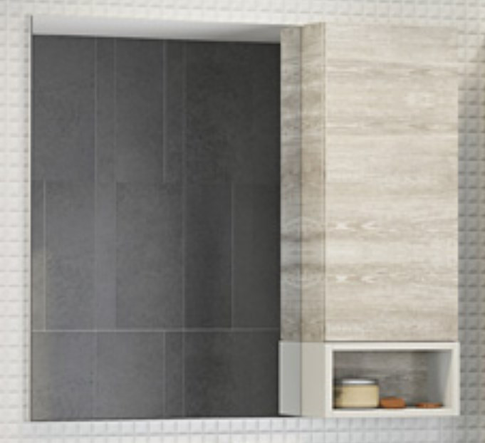 Зеркальный шкаф 88х80 см дуб белый Comforty Прага 00004136263 зеркальный шкаф comforty кёльн 88 дуб темный 00004147987
