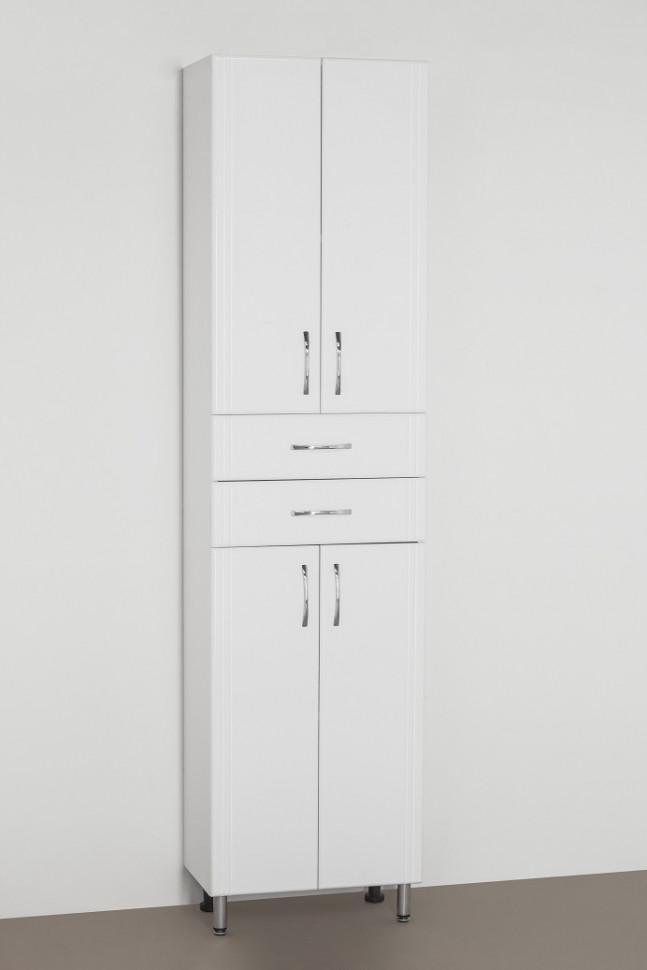 Пенал напольный белый глянец Style Line Эко Стандарт LC-00000379 шкаф пенал style line эко стандарт 36 с бельевой корзиной белый глянец
