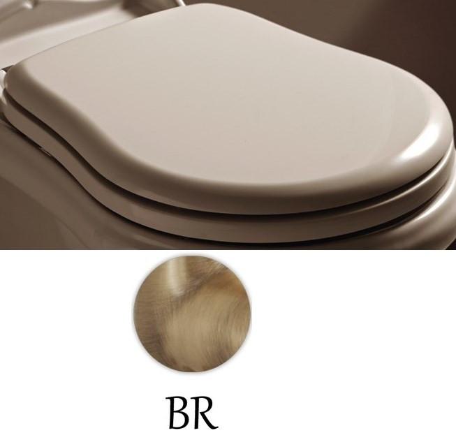 Сиденье для унитаза с микролифтом белый/бронза Kerasan Retro 108601bi/br.
