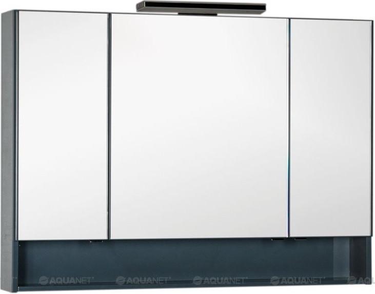 Зеркальный шкаф 118,6х86 см сине-серый Aquanet Виго 00183363