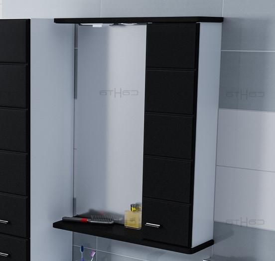 Зеркальный шкаф 60х75 см черный глянец/белый глянец Санта Омега 107012