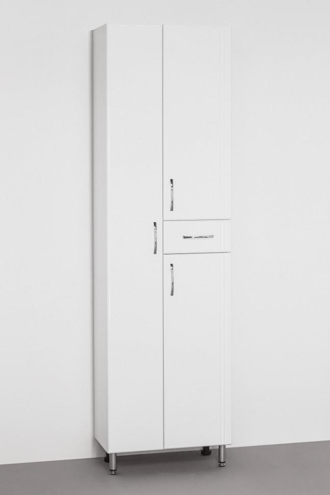 Пенал напольный белый глянец Style Line Эко Стандарт LC-00000371 шкаф пенал style line эко стандарт 36 с бельевой корзиной белый глянец