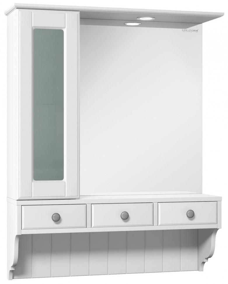 зеркальный шкаф edelform уника 100 белый с дуб гальяно 2 741 45 s Зеркальный шкаф белый матовый 78,2х97,7 см Edelform Dijon 2-264-032-S