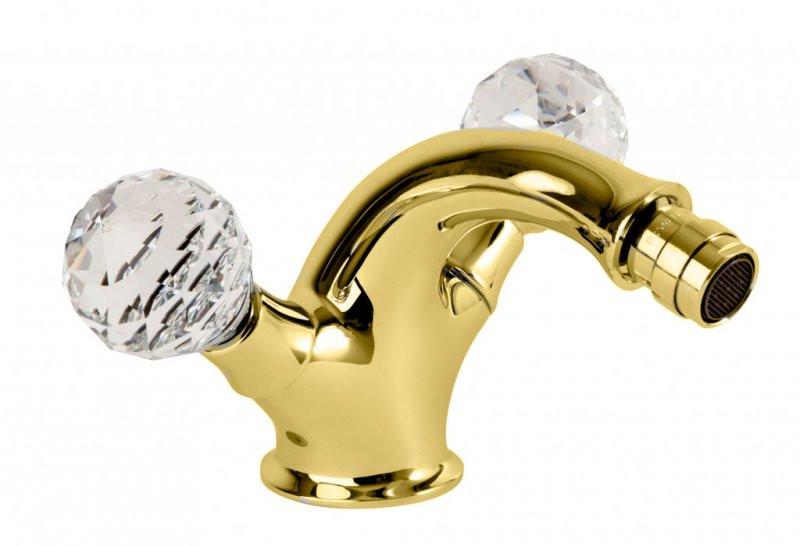 Смеситель для биде золото 24 карата, ручки Swarovski Cezares Atlantis ATLANTIS-BS1-03/24-Sw смеситель для биде золото 24 карат ручки swarovski cezares diamond diamond bbs2 03 24 sw