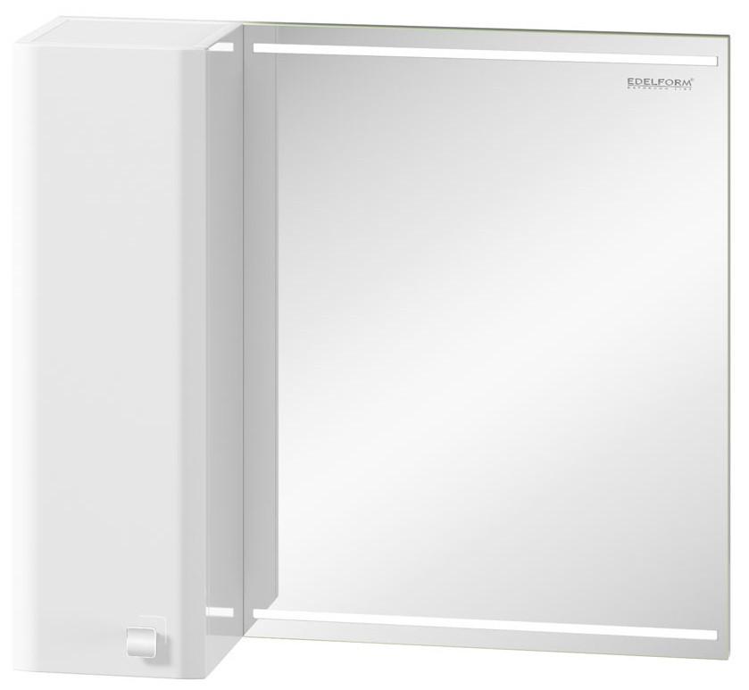 зеркальный шкаф edelform уника 100 белый с дуб гальяно 2 741 45 s Зеркальный шкаф белый глянец 70х63 см Edelform Nota 2-641-00-S