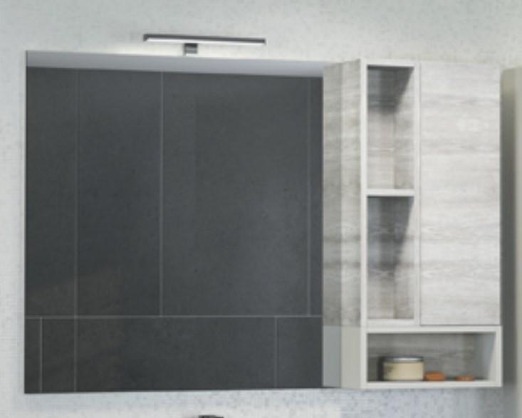 Зеркальный шкаф 118х80 см дуб белый Comforty Прага 00004136262