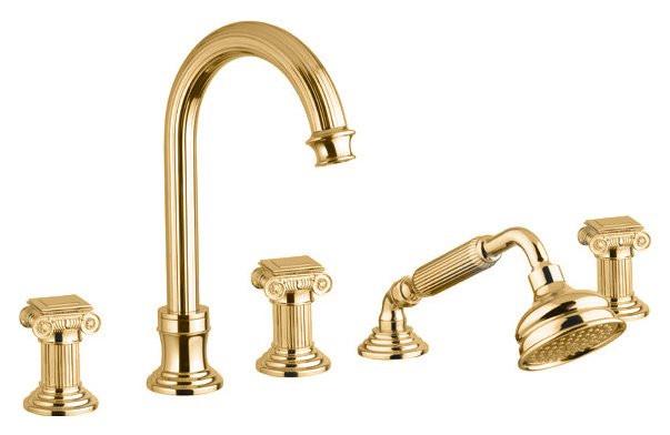 Смеситель на борт ванны с выдвижным душем и переключателем золото 24 карата, ручки металл Cezares Olimp OLIMP-BVD-03/24-O