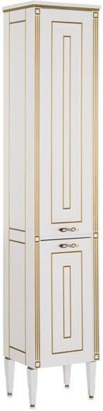 Пенал напольный белый золотая патина Aquanet Паола 00186112 зеркало 120х96 3 см белый золотая патина aquanet паола 00186105