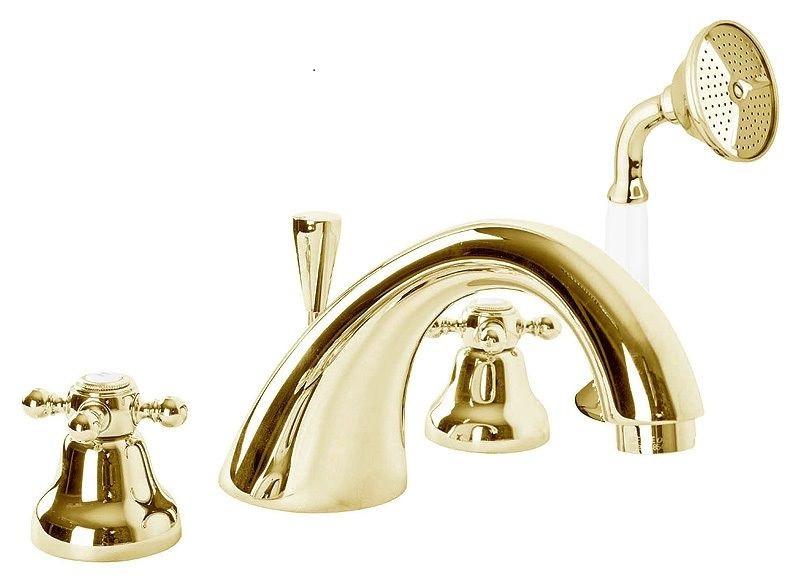 Смеситель на борт ванны с ручным душем золото 24 карат, ручки карат Cezares Golf GOLF-BVD-03/24